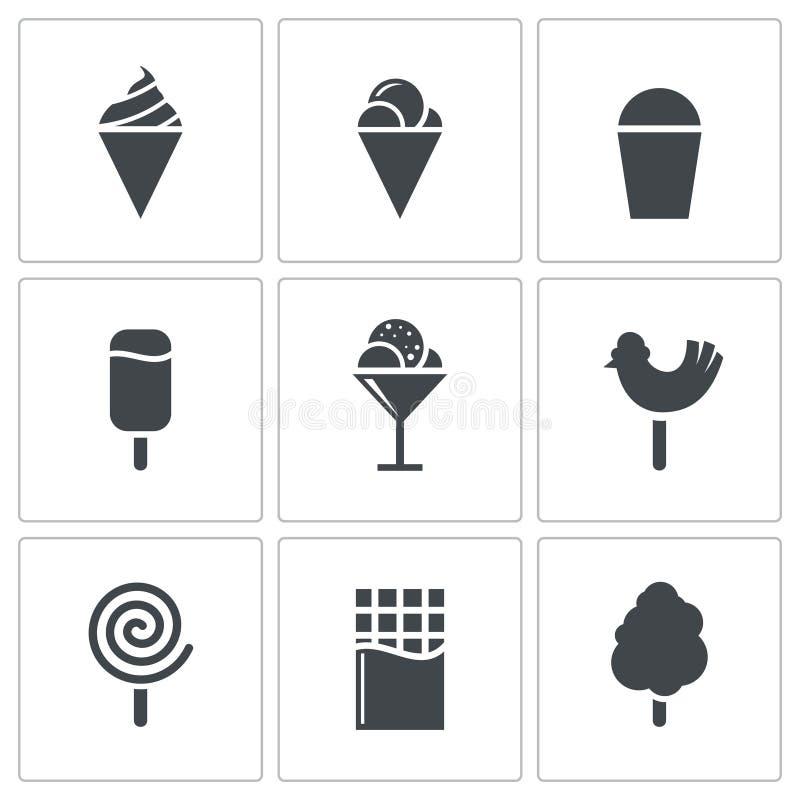 Cukierki i lody ikony set ilustracja wektor