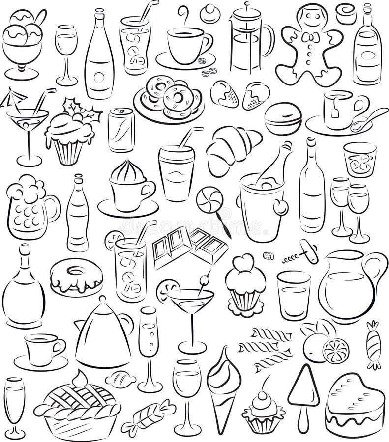 Cukierki i napoje ilustracja wektor