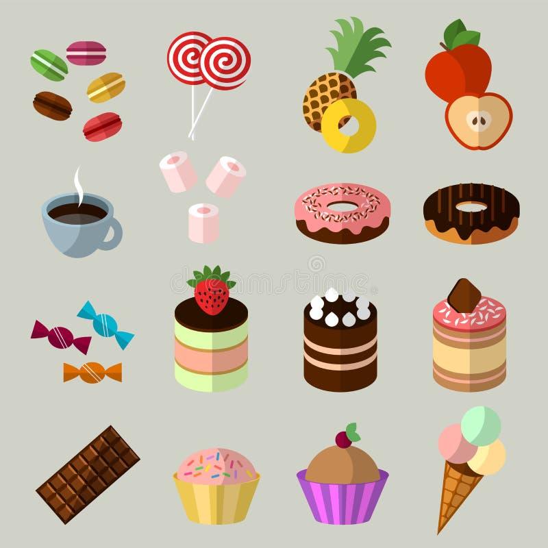 Cukierki ikony ustawiać w mieszkanie stylu ilustracja wektor