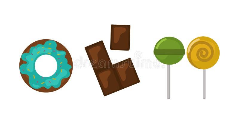 Cukierki karmowej piekarni cukrowego ciasteczka lizaka przekąski i projekta czekoladowego torta cukierku deserowy kolorowy wakacy ilustracji