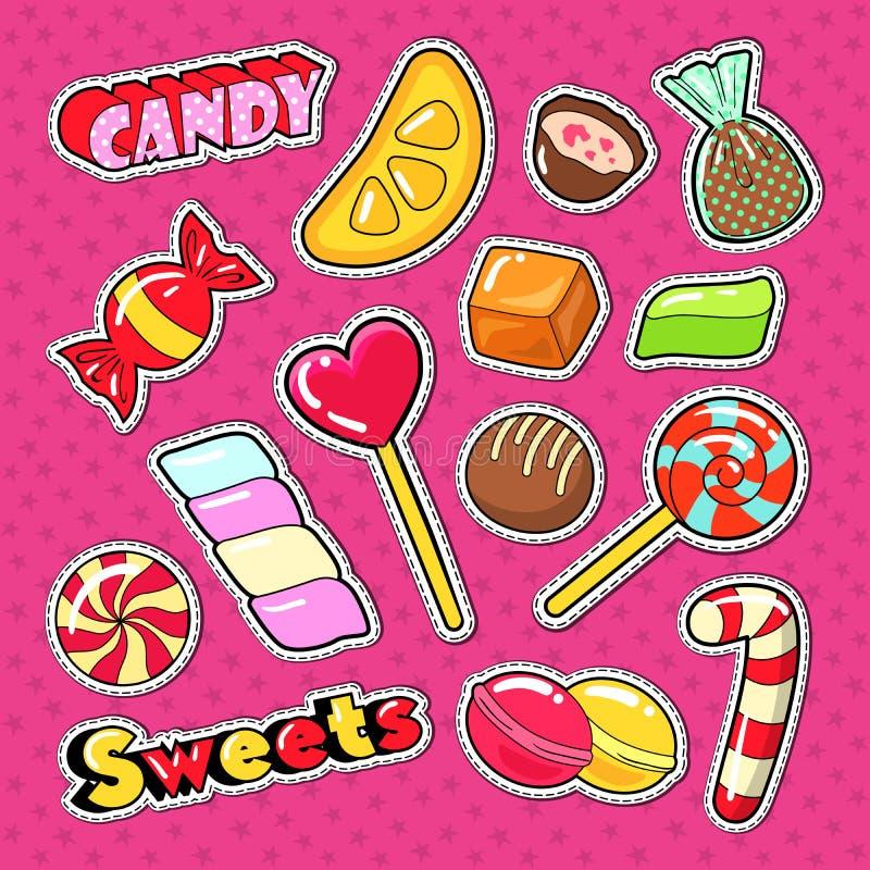 Cukierki, Karmowi majchery, odznaki i łaty, czekolady i cukierki, ilustracja wektor