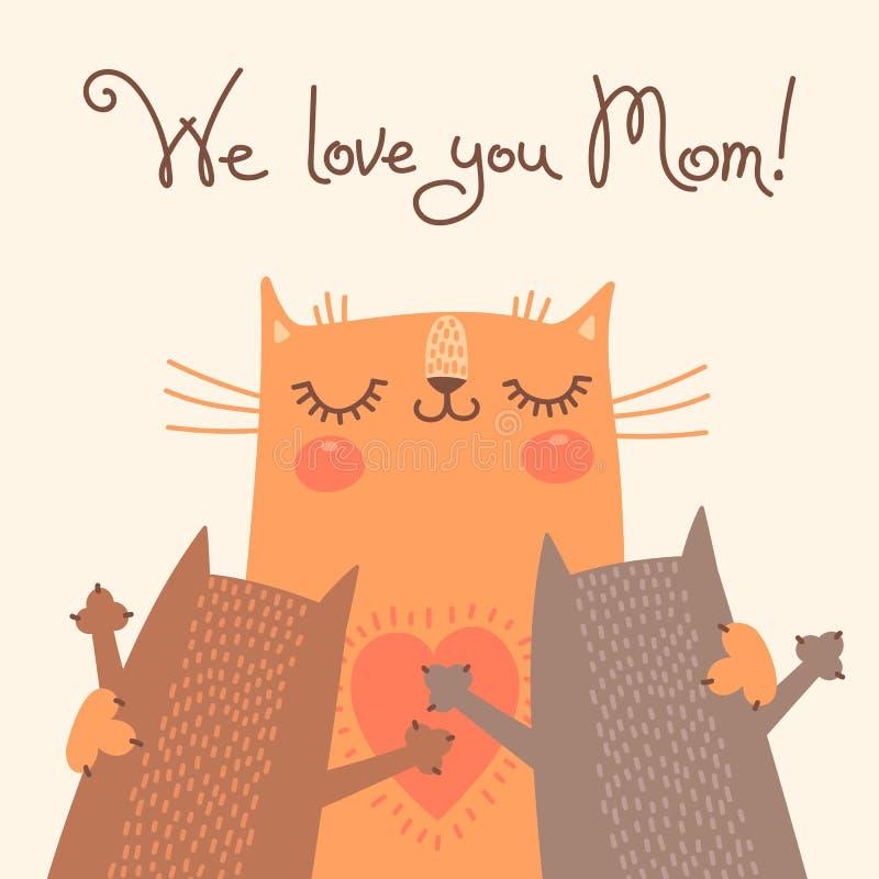 Cukierki karta dla matka dnia z kotami ilustracji