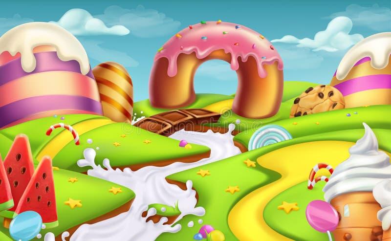 Cukierki krajobraz Wektorowy tło ilustracji