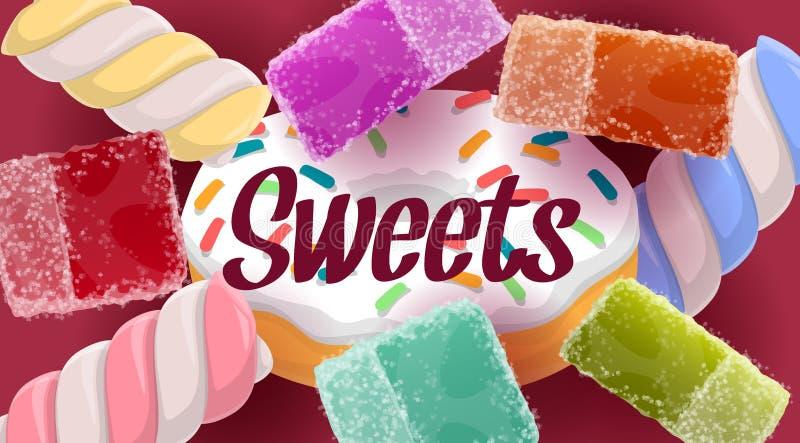 Cukierki, cukierki, pączek, galarety, marshmallows royalty ilustracja
