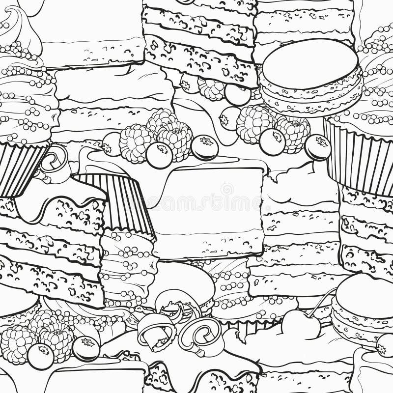 Cukierki piec deseru konturu bezszwowy wzór w nakreślenie stylu royalty ilustracja