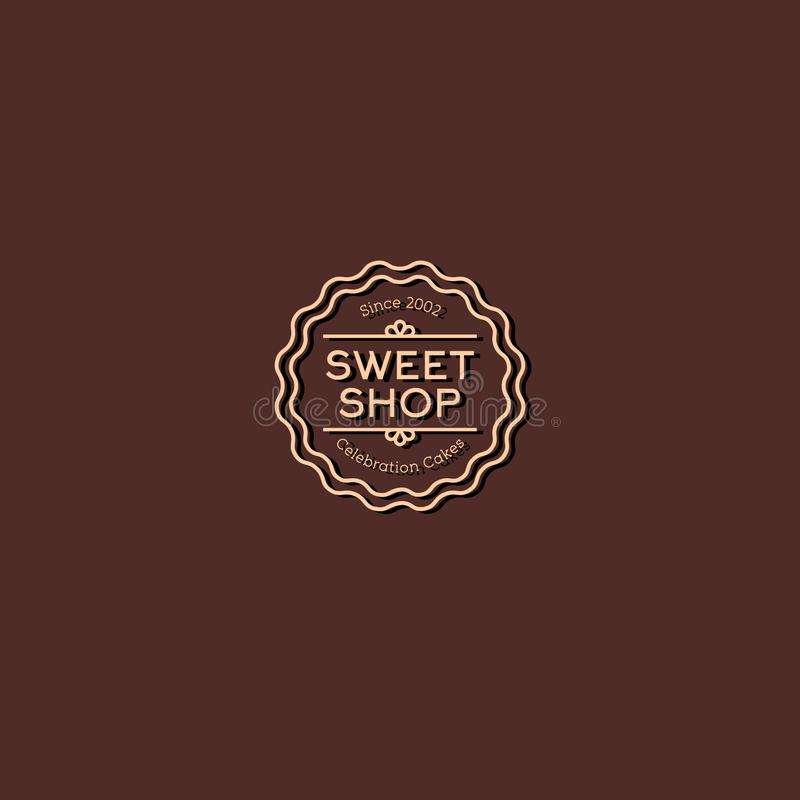 Cukierki robią zakupy loga Świętowanie Zasycha emblemat Rocznika liniowy logo na brown tle ilustracji