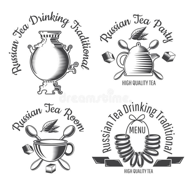 Cukierki rolki suchy chleb na sznurku, samowarze, teapot i filiżance, Ustawia Russiaan tradycji herbacianego logo dla kawiarni, t ilustracja wektor