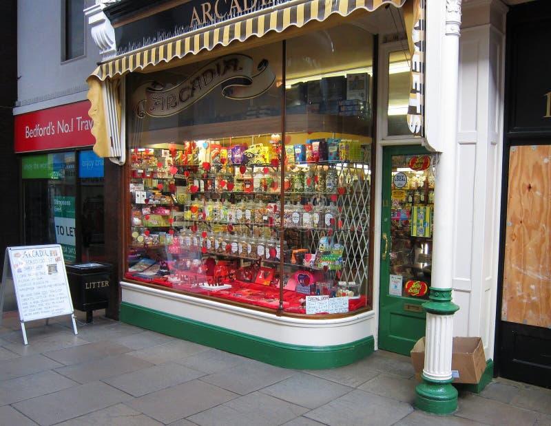 Cukierki sklep lub cukierku sklep okno. zdjęcie stock