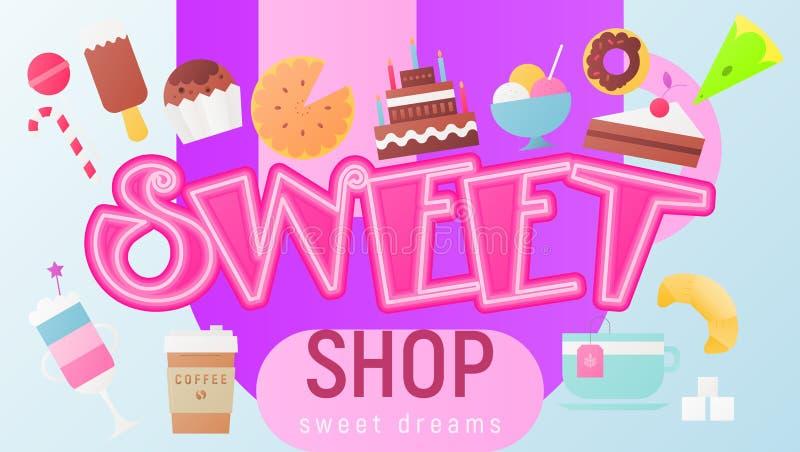 Cukierki sklepowy plakat ilustracja wektor