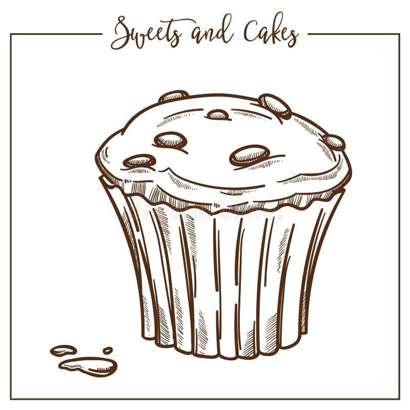 Cukierki, torty, deser robić ciasto, śmietanka i dokrętki, ilustracji
