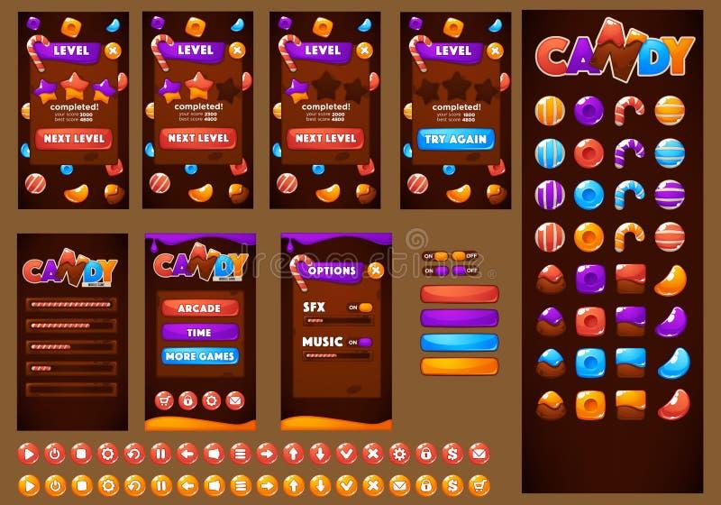 Cukierki, zabawa, cukierek i czekolada, glansowany, ilustracja wektor