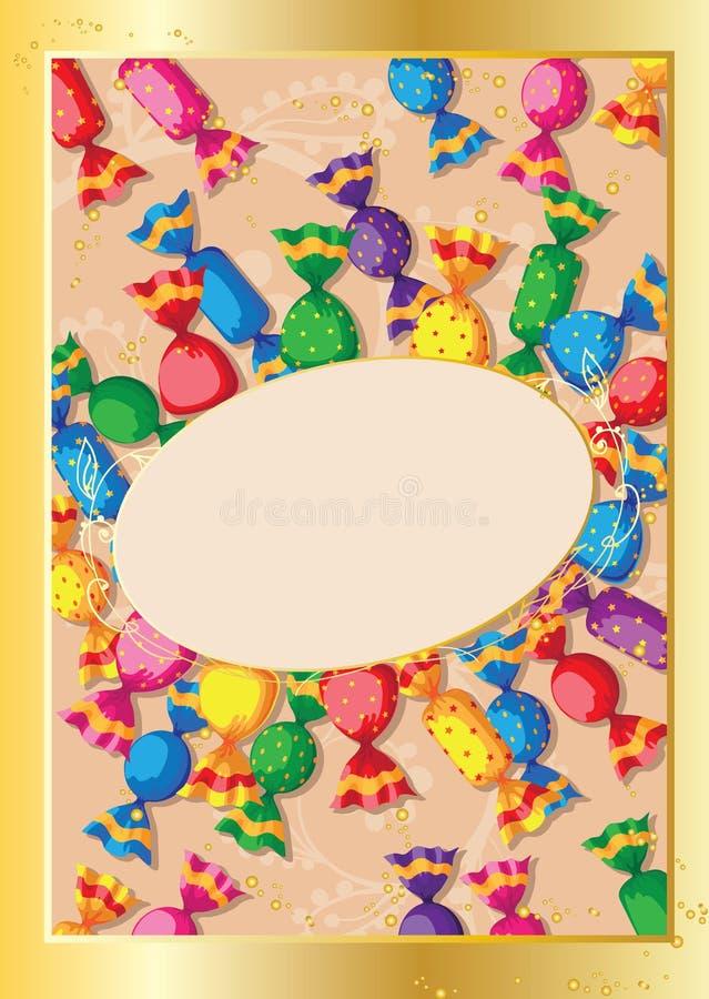 cukierku śliczny karciany ilustracja wektor