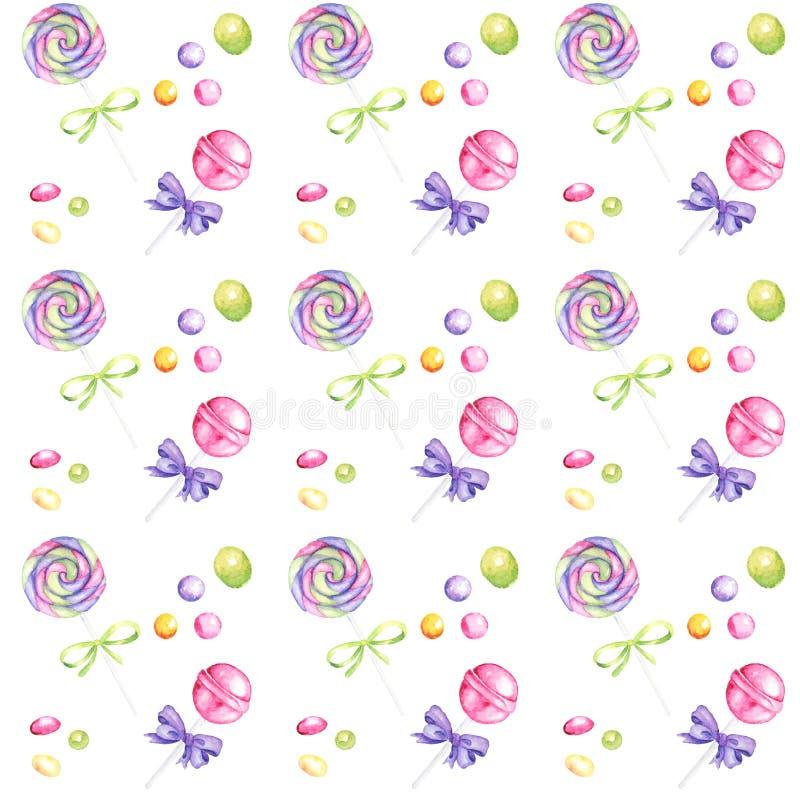 Cukierku baru akwareli ręka rysujący wzór, lizak i łęków jaskrawi kolory, - purpury, zieleń, żółty Scrapbook papier na bielu zdjęcia royalty free
