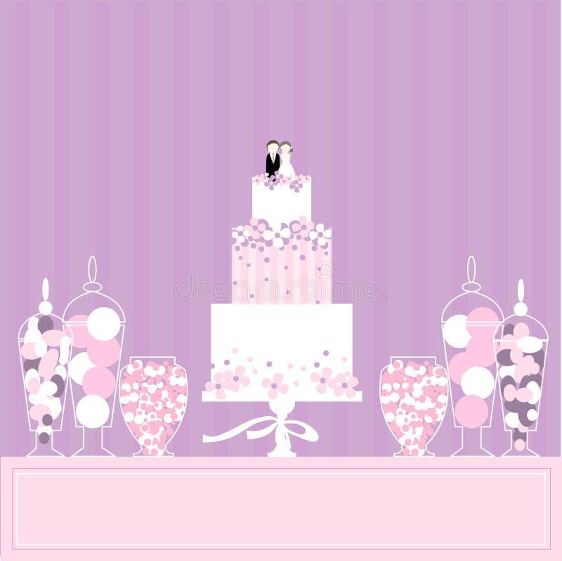 Cukierku bufet z tortem i cukierkami ilustracja wektor