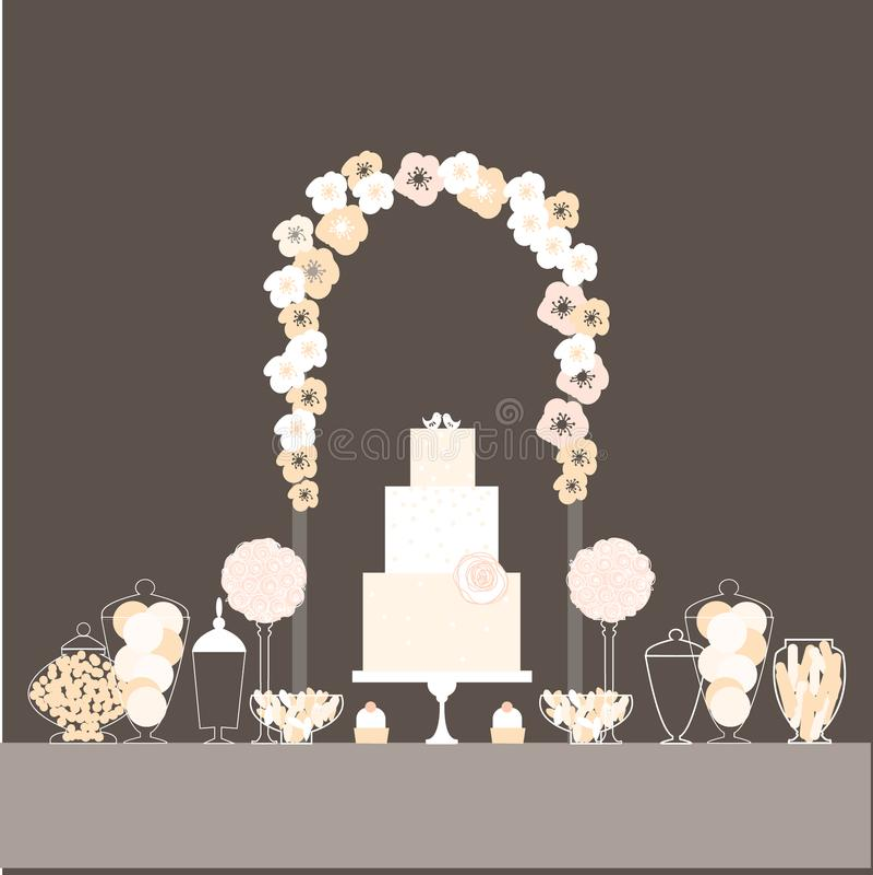 Cukierku bufet z tortem i ptakami ilustracja wektor