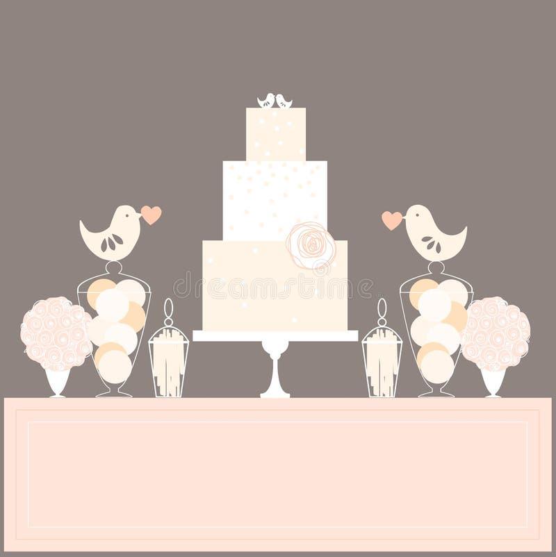 Cukierku bufet z tortem i ptakami royalty ilustracja