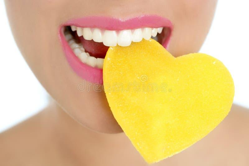 cukierku kierowa makro- usta kształta kobieta zdjęcia stock