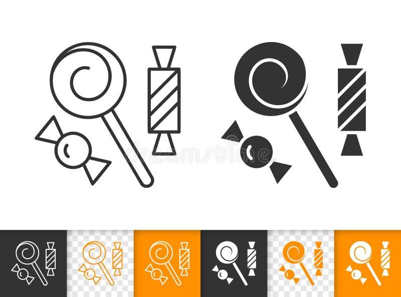Cukierku lizaka czerni linii wektoru prosta ikona ilustracja wektor