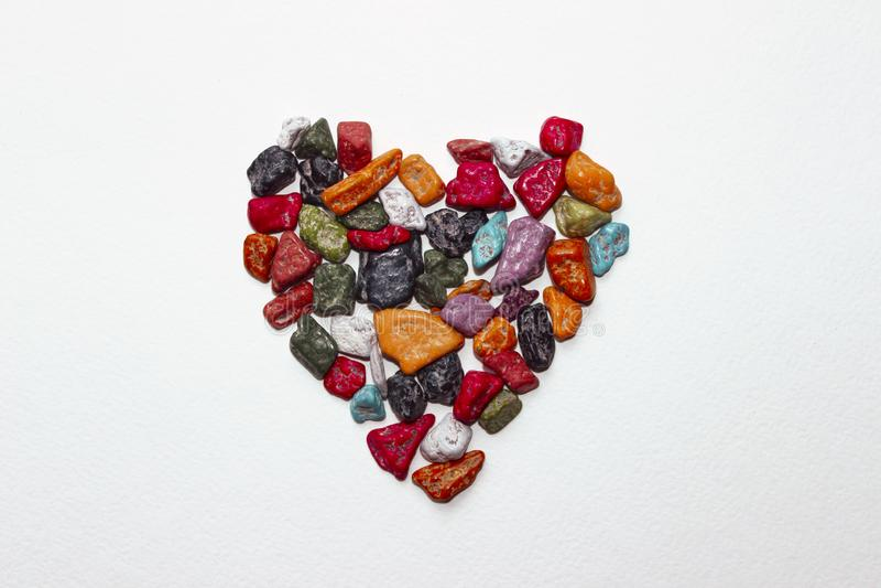 Cukierku serce Kształtujący Kolorowy kamienia serce Kształtujący zdjęcia stock