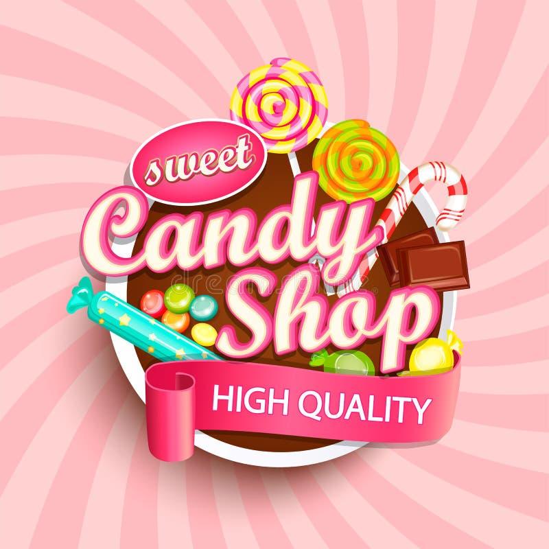 Cukierku sklepowy logo, etykietka lub emblemat, obrazy stock