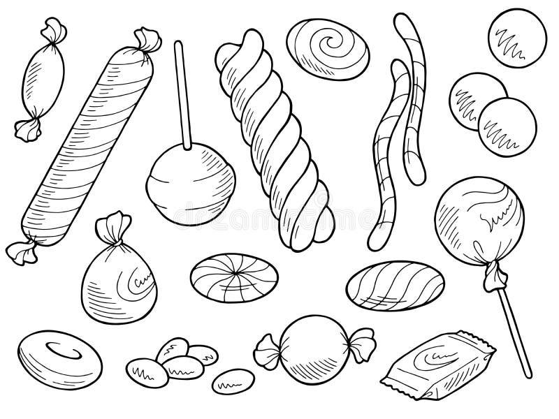 Cukierku ustalony graficzny słodki karmowy czarny biały odosobniony ilustracyjny wektor ilustracji