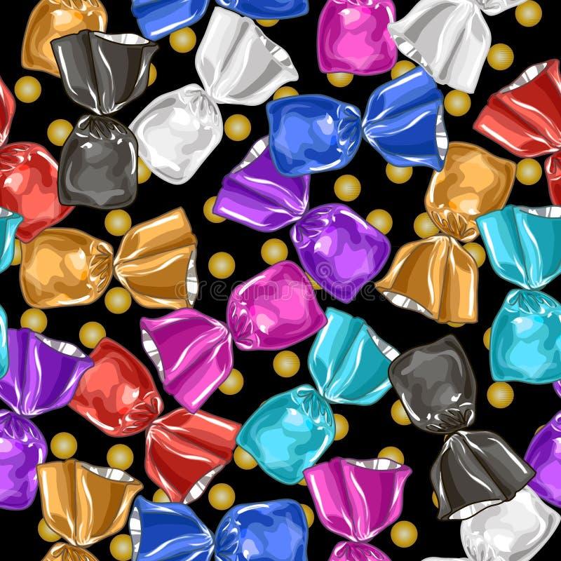 Cukierku wektoru bezszwowy wzór Słodka ilustracja ilustracji