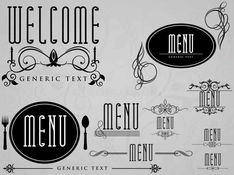 cukierniana kaligraficzna elementów menu restauracja ilustracji