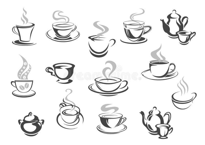 Cukiernianego bufeta kawowi kubki, herbacianych filiżanek wektoru ikony ilustracji
