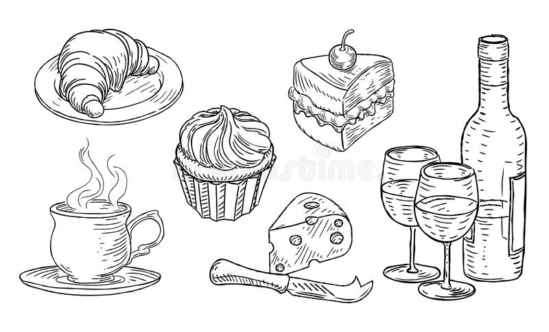 Cukiernianego Karmowego rocznika Woodcut Retro styl royalty ilustracja
