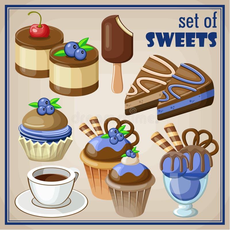 cukiernianego projekta pomysłu ładni restauracyjni ustaleni cukierki royalty ilustracja