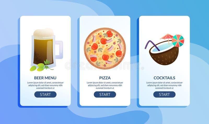 Cukierniani lub Restauracyjni Płascy Wektorowi sieć sztandary Ustawiający ilustracja wektor