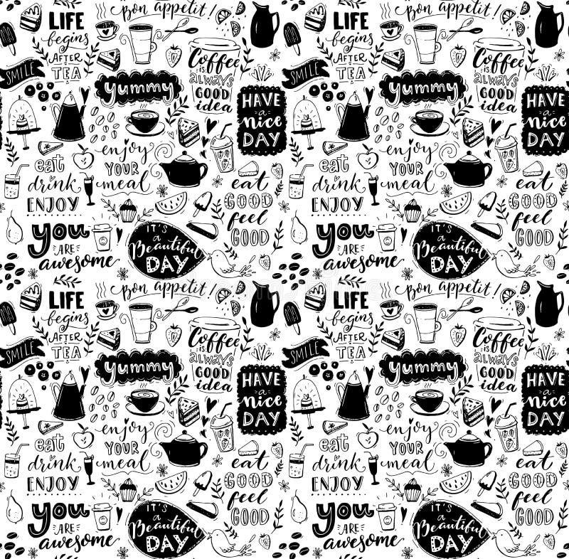 Cukierniany bezszwowy wzór Wręcza patroszonej herbaty, kawowych garnki, desery i inspiracyjni podpisy, Menu pokrywy projekt, tape ilustracja wektor