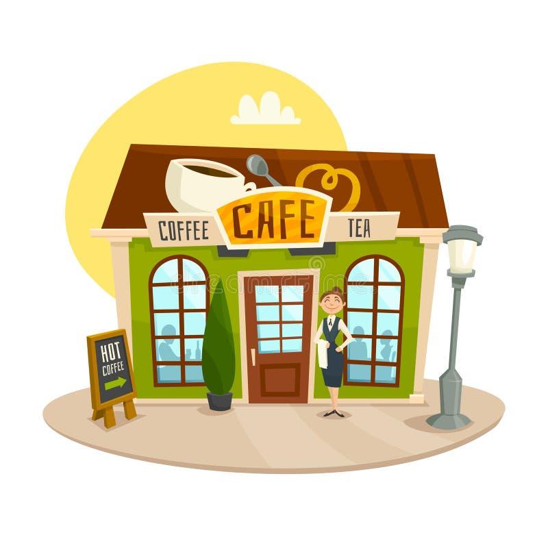 Cukierniany budynek, kawa i herbata, robimy zakupy, frontowy widok, kreskówka wektoru ilustracja ilustracji