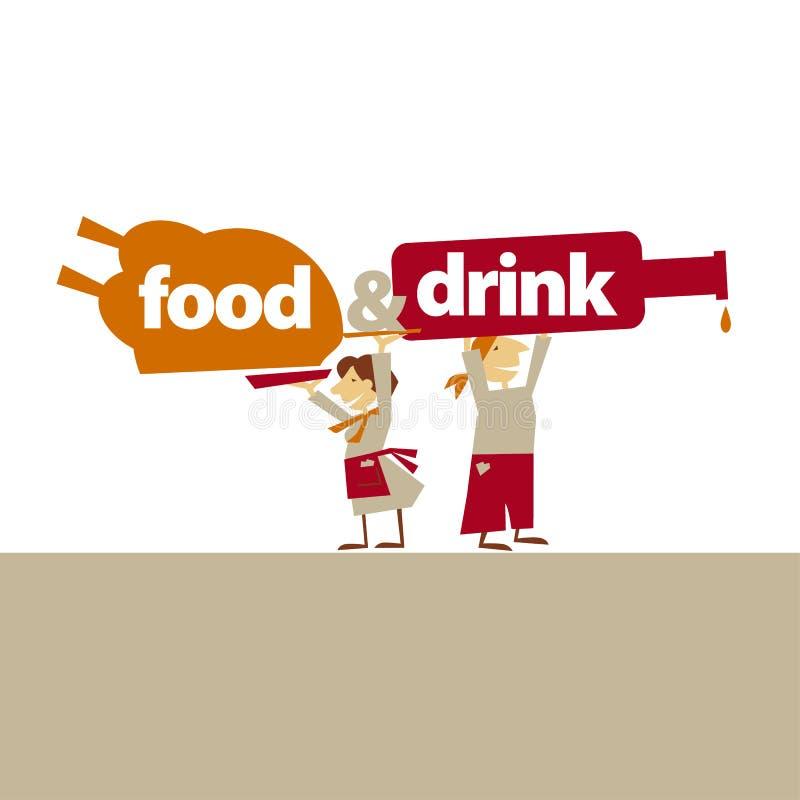 Cukierniany kelnera chwyta jedzenie i napoje ilustracji