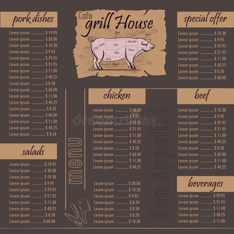 Cukierniany menu grilla szablon ilustracji
