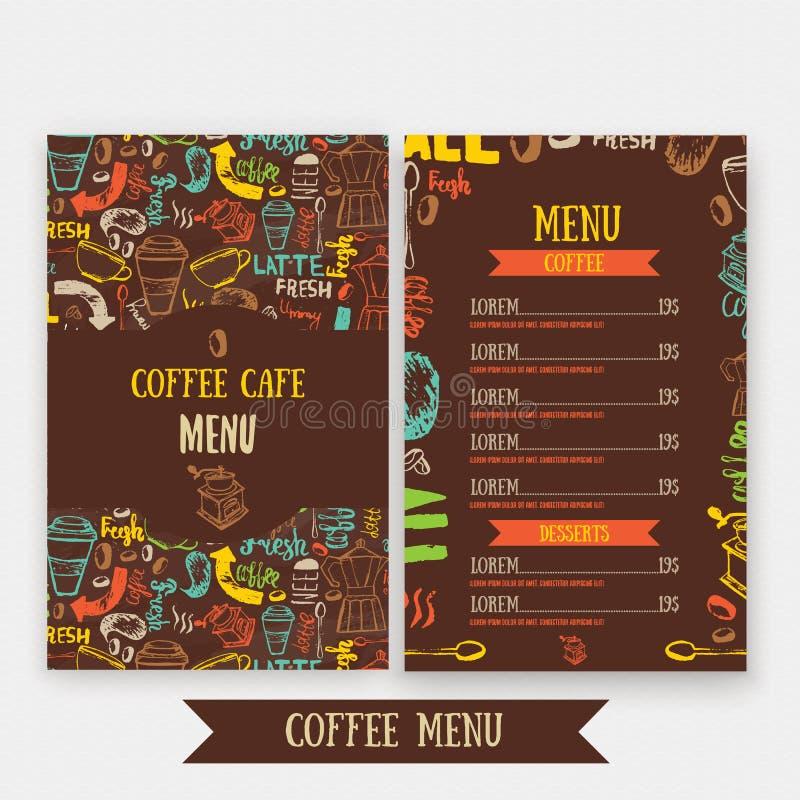 Cukierniany menu szablonu projekt z literowaniem dla sklep z kawą Ręka rysujący cukierniany menu projekt Nowożytnego modnisia kol ilustracja wektor