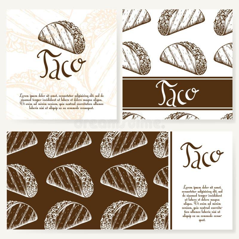 Cukierniany menu z ręka rysującym projektem Fasta food menu restauracyjny szablon Set karty dla korporacyjnej tożsamości również  royalty ilustracja