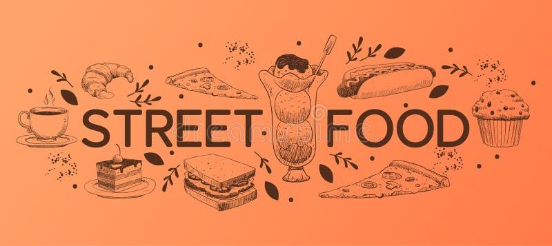 Cukiernianych menu wektorowych słodkich deserów babeczki czekoladowy cheesecake i fasta food lody w restauracyjnym ilustracyjnym  royalty ilustracja