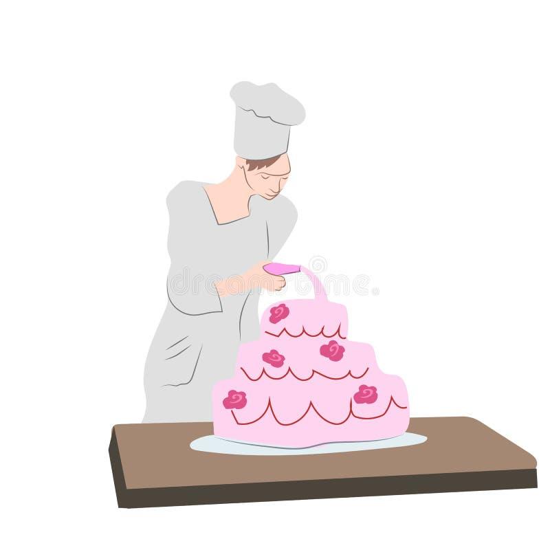 Cukierniczka gotuje ilustracja wektor