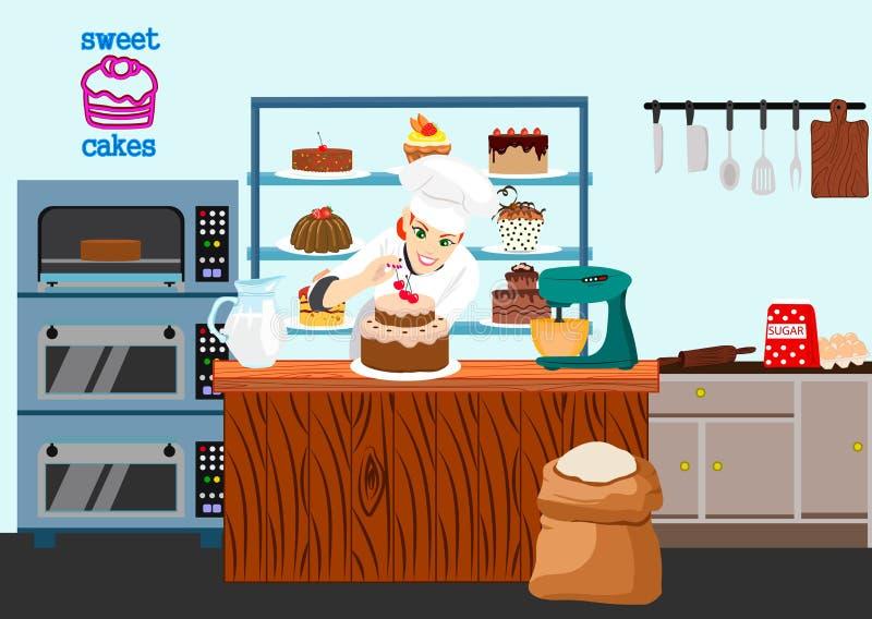 Cukierniczy dziewczyna kucharz przygotowywa czekoladowego tort z wiśnią Cukierki kreskówki sklepowy skład z uśmiechniętą cukierni ilustracja wektor