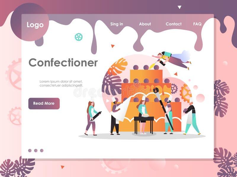 Cukierniczy wektorowy strony internetowej l?dowania strony projekta szablon ilustracja wektor
