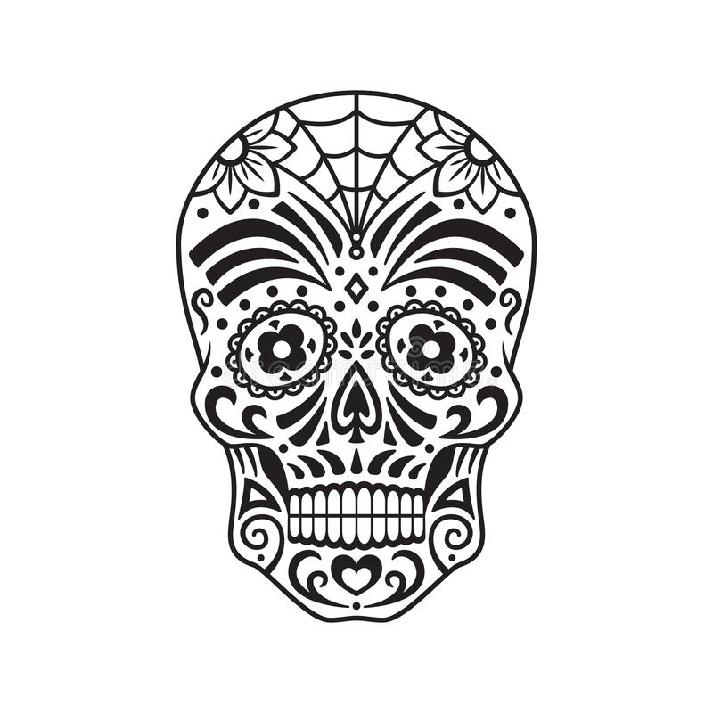 Cukrowa czaszka czarny tatuaż Meksykański dzień nieboszczyk również zwrócić corel ilustracji wektora ilustracja wektor
