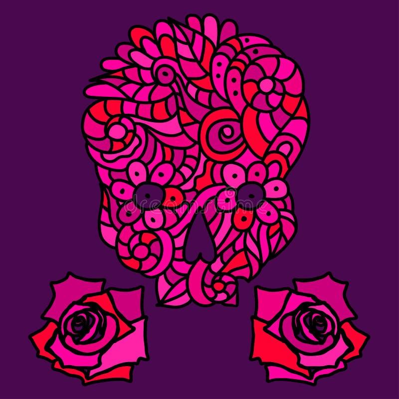 Cukrowa czaszka i róże ilustracja wektor