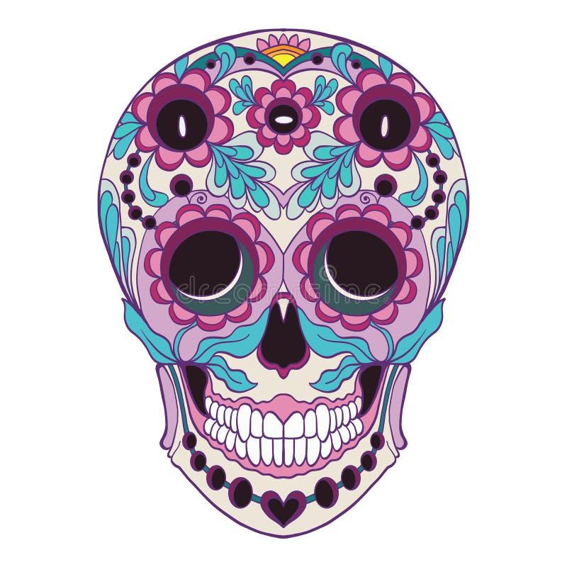 Cukrowa czaszka Tradycyjny symbol dzień nieboszczyk stoc ilustracji