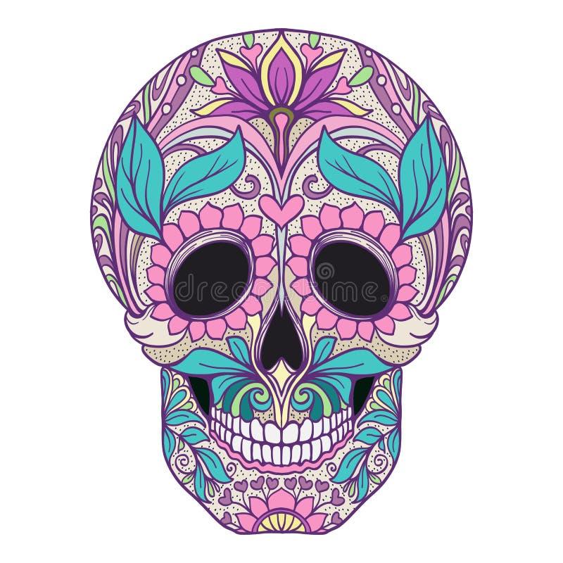 Cukrowa czaszka Tradycyjny symbol dzień nieboszczyk stoc ilustracja wektor