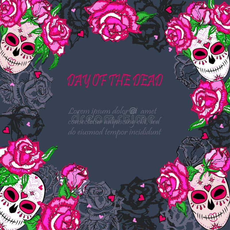 Cukrowa czaszka z różowym róża szablonem ilustracja wektor
