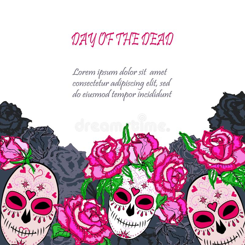 Cukrowa czaszka z różowym róża szablonem ilustracji