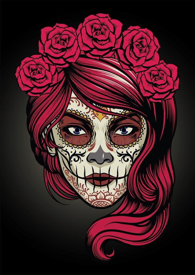 Cukrowa czaszki dama ilustracji