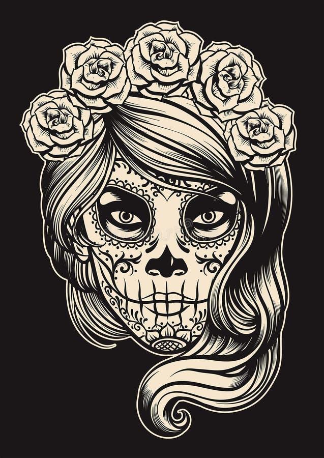 Cukrowa czaszki dziewczyna royalty ilustracja