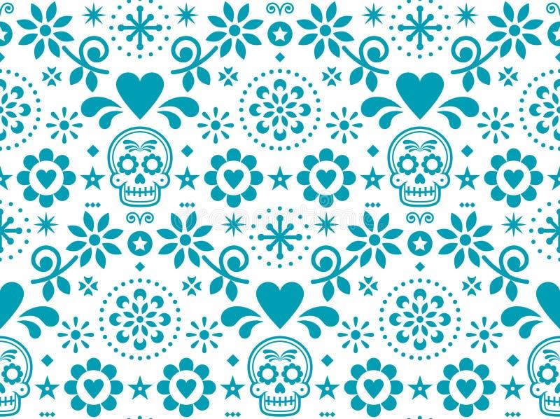 Cukrowej czaszki bezszwowy wzór inspirujący Meksykańską ludową sztuką, Dia De Los Muertos powtórkowy projekt w turkusie na białym ilustracja wektor